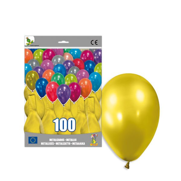100 Globos metalizados color AMARILLO -