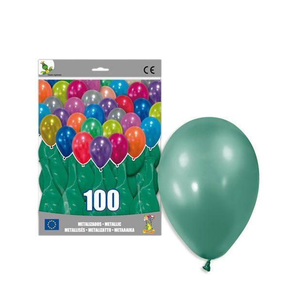100 Globos metalizados color VERDE - Fiesta dinosaurios