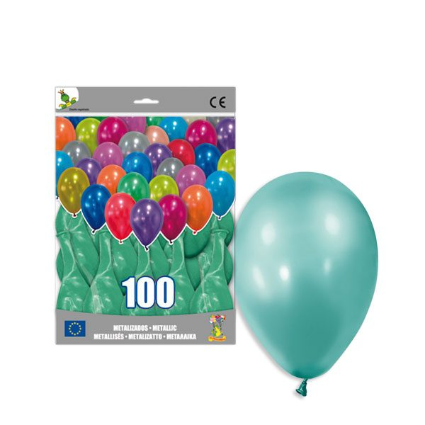 100 Globos metalizados color VERDE AGUAMARINA -