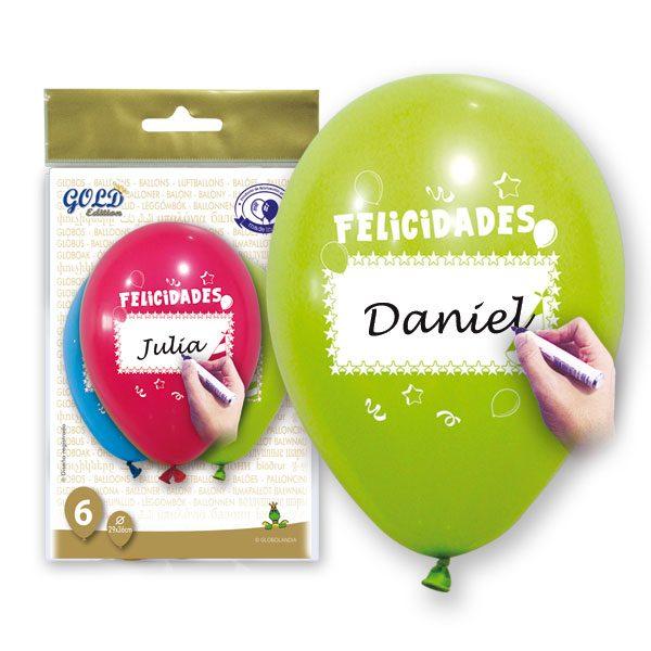 """Globos personalizables en colores surtidos """"FELICIDADES"""" de 29x36 -"""