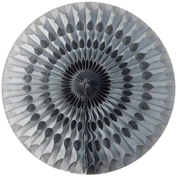Abanico 50 cm de papel  alveolado gris -