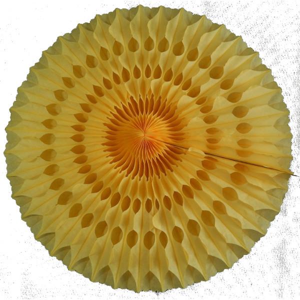 Abanico 50 cm de papel  alveolado amarillo oro - Fiesta unicornio