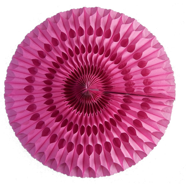 Abanico 50 cm de papel  alveolado fucsia - Decoración San Valentín