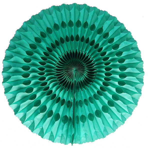 Abanico 50 cm de papel  alveolado color verde jade - Fiesta dinosaurios