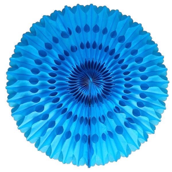 Abanico 50 cm de papel  alveolado color azul turquesa -
