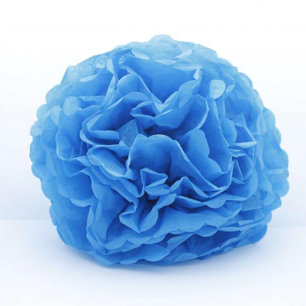 Flor de papel seda de 20 cm color azul cielo -
