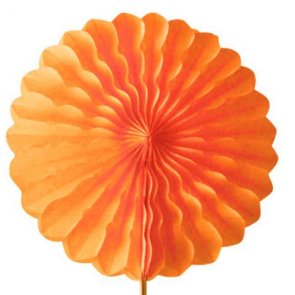Abanico 25 cm de papel  alveolado en naranja -