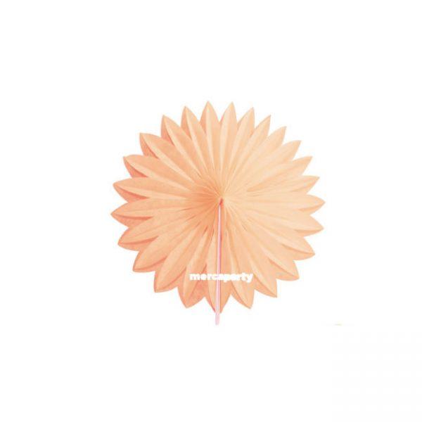 Abanico de papel alveolado de 15 cm color melocotón -