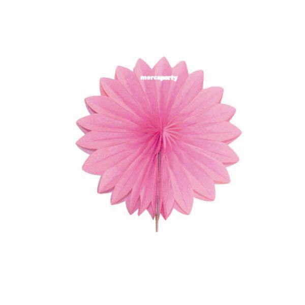 Abanico 25 cm de papel  alveolado rosa - Confirmación