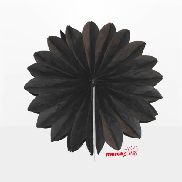 Abanico 25 cm de papel  alveolado en negro -