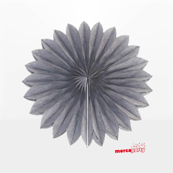 Abanico alveolado de papel color Gris de 15cm - Fiesta medieval