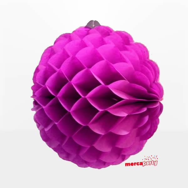 Bola de papel de 25 cm en panal de abeja color fucsia -