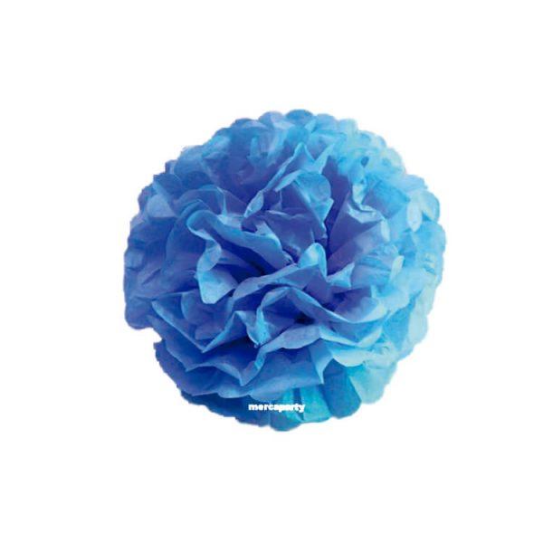 3 Flores de papel de 30 cm color Azul turquesa - Flores