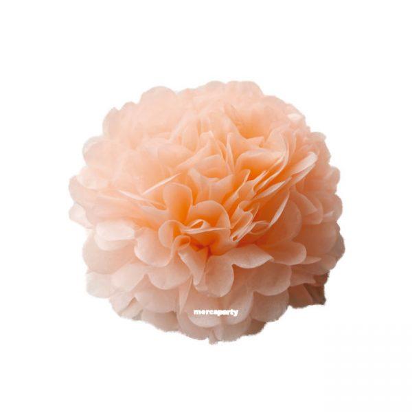 Flor de papel seda de 30 cm color melocotón -