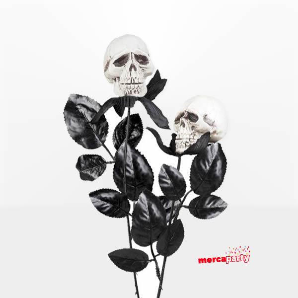 Flor negra con calavera -