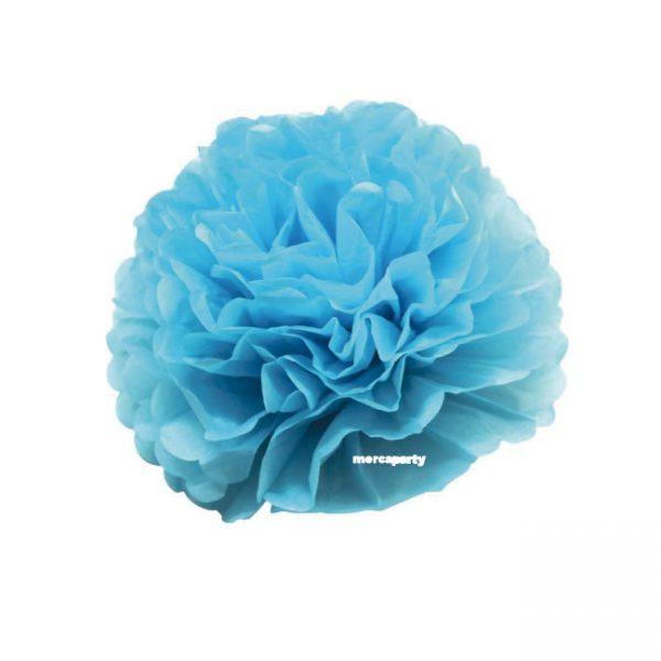 3 Flores de papel de 20 cm color azul cielo -