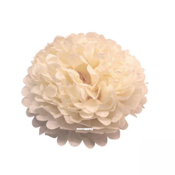 Flor de papel seda de 20 cm color crema -