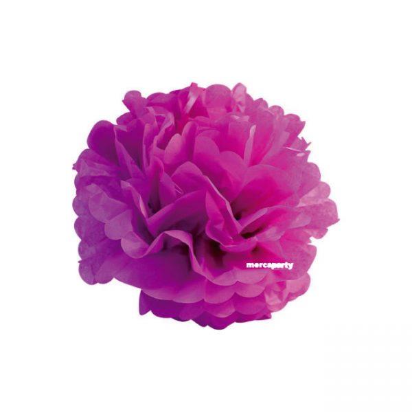Flor de 20 cm de papel seda fucsia -