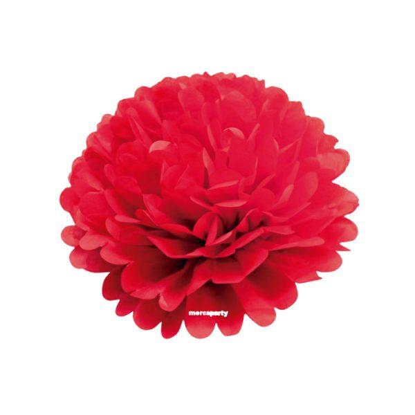 Flor de papel seda de 20 cm color rojo -
