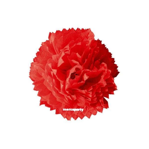 Flor de papel seda de 45 cm roja - Fiesta medieval