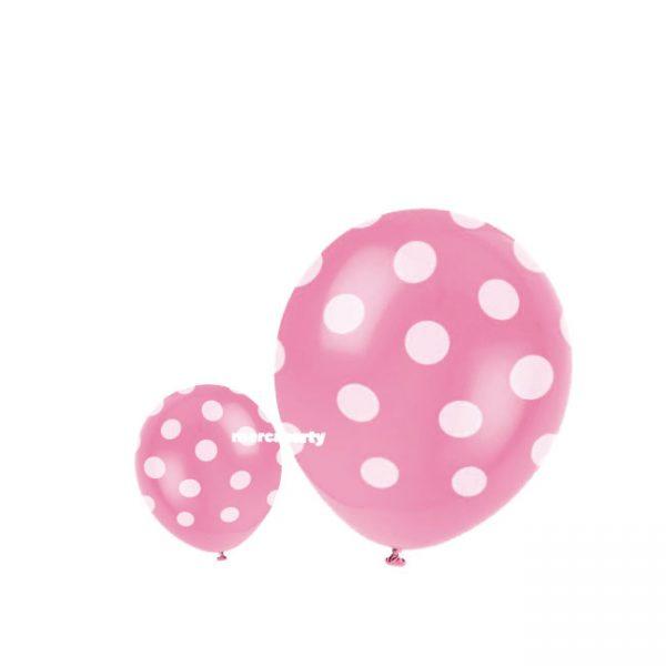 Globos pastel ROSA con lunares blancos (Bolsa de 6 globos) -