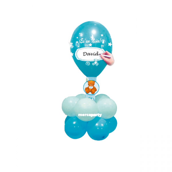 Babyshower niño kit grande de globos blancos y azul -