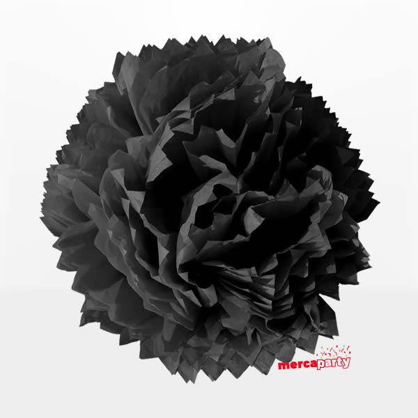 Flor de papel seda de 45 cm negra - Fiesta medieval
