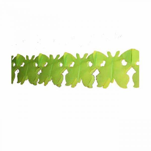 Guirnalda de papel MARIPOSAS color verde claro 4m -