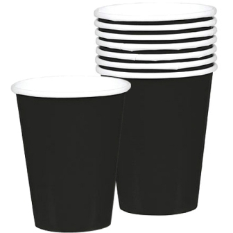 Vasos de papel color negro de 266ml 8uds -