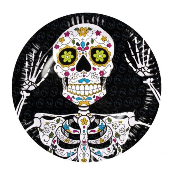 Plato de cartón Calavera Day of the dead de 23 cm -