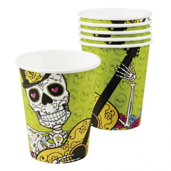 Vaso de cartón Calavera Day of the dead de 250 ml -