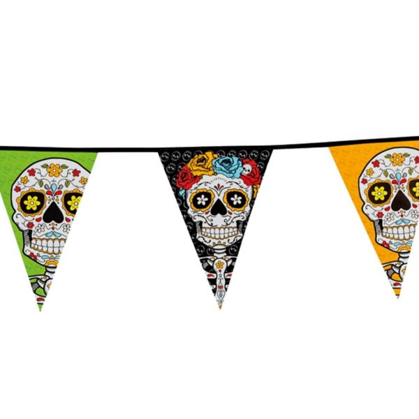 Guirnalda de pe. Calavera Day of the dead 10 m. 20 triángulos -
