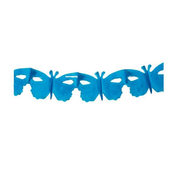 Guirnalda de papel MARIPOSAS color azul cielo 4m -