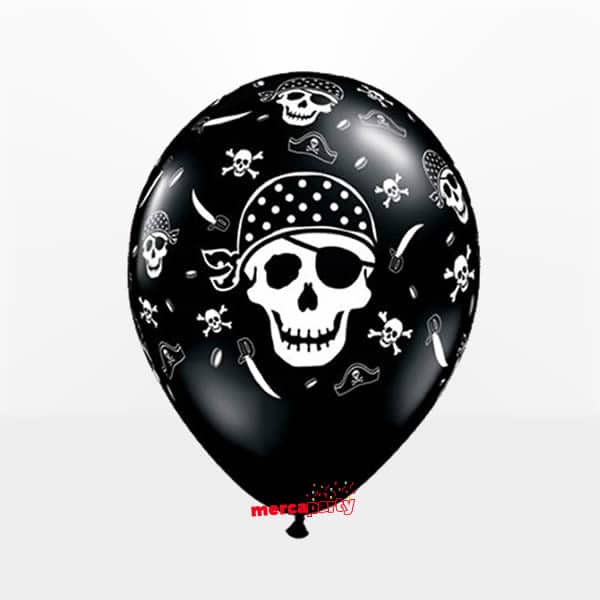 Globo Calavera Pirata negro metalizado de 28cm -