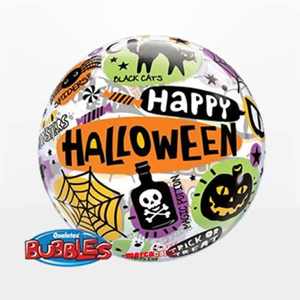 Globo Mensaje Halloween transparente de 56cm -