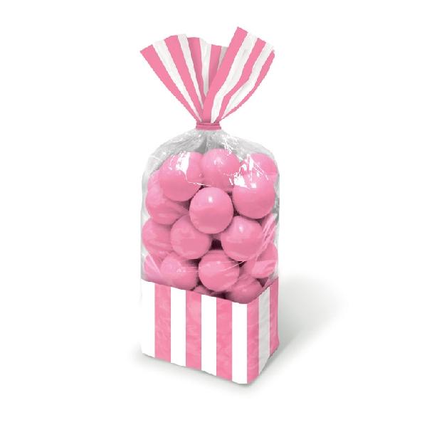 Bolsas Celofán Rayas Rosas y Blancas  de 27 cm - Candy Bar