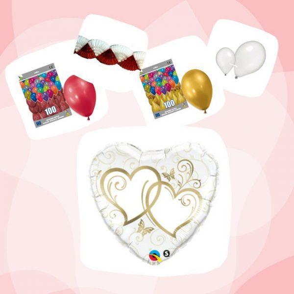 Kit San Valentín globo Corazón Oro - San Valentín