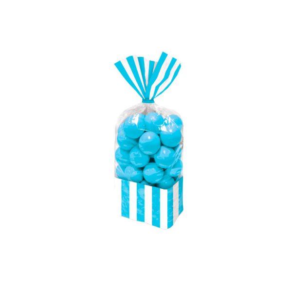 Bolsas de Celofán Rayas Azules y Blancas de 27 cm - Candy Bar