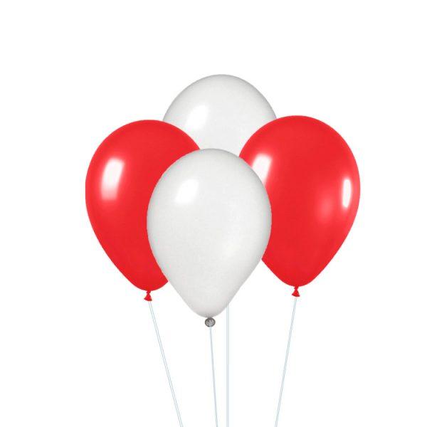 Conjunto de globos metalizados rojos y blanco -
