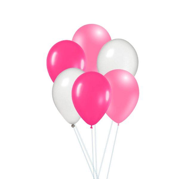 Conjunto de globos rosas y blanco -