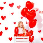 Little,Cute,Beautiful,Child,Girl,With,Red,Hearts,Funny,And