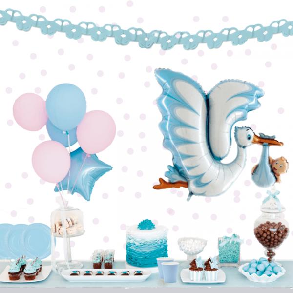 Babyshower niño kit color azul con globo de cigüeña -