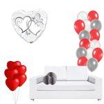 Kit decoración globo LOVE, con abanicos de 25cm y globos metalizados -