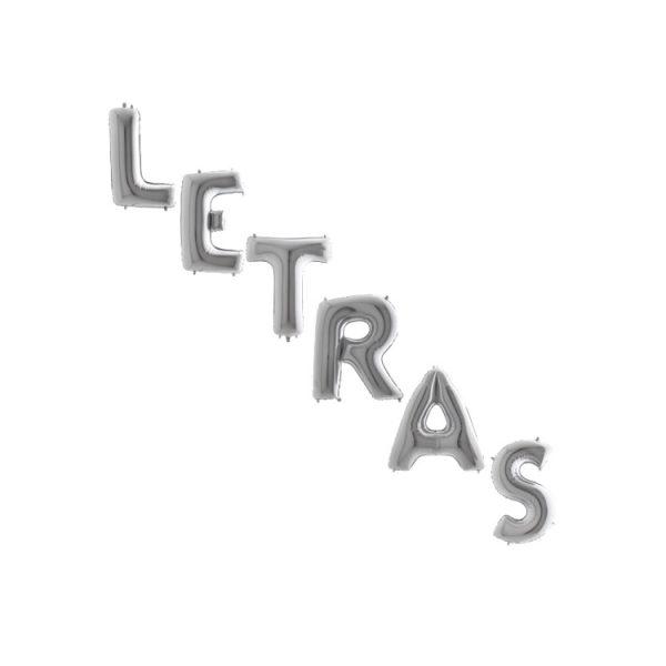 "Globos de LETRAS color plata de 40"" (101 cm) - Bodas de plata"