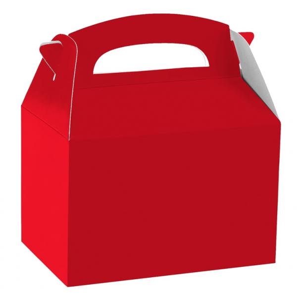 Caja de cartón rojo de 15 x 10 x 17 cm para chuches - Fiesta superhéroes