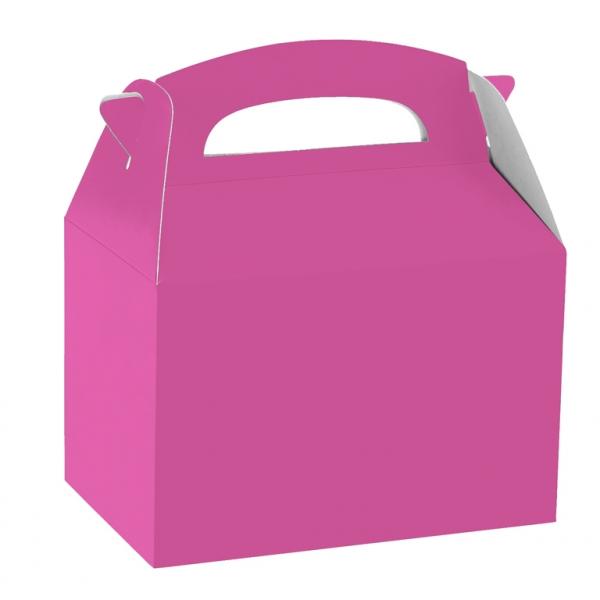 Caja de cartón rosa fucsia de 15 x 10 x 17 cm para chuches -