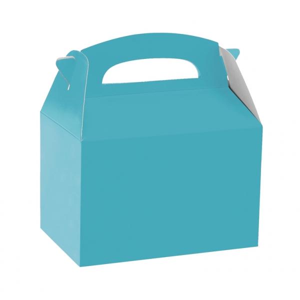 Caja de cartón azul claro de 15 x 10 x 17 cm para chuches - Fiesta superhéroes