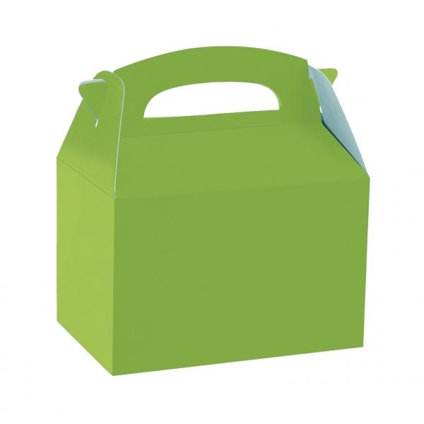 Caja de cartón verde lima de 15 x 10 x 17 cm para chuches - Fiesta Saint Patrick