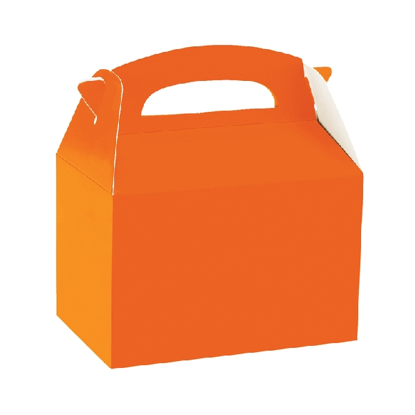 Caja de cartón naranja de 15 x 10 x 17 cm para chuches - Artículos cumpleaños infantil