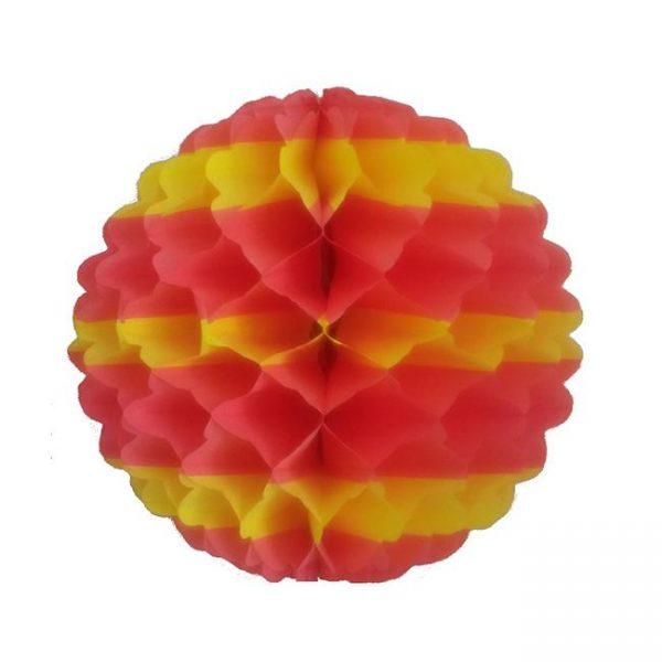 Bola de papel de 50cm nido de abeja Rojo y Amarillo - Bolas de papel